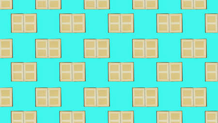 Seamless pattern of open old photo albums on a turquoise background. Flat lay. 写真素材