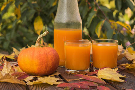 Pumpkin juice in glasses and bottles and pumpkin fruit on a wooden table. Autumn pumpkin harvest. 版權商用圖片