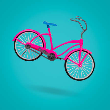 Red Bicycle with a blue saddle on a blue background. Eco-friendly mode of transport.