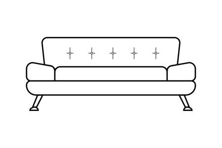 Icon of a modern upholstered sofa isolated on a white background. Upholstered furniture for the living room. Illusztráció