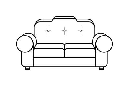 Icon of a soft sofa with large armrests isolated on a white background. Upholstered furniture for the living room. Illusztráció