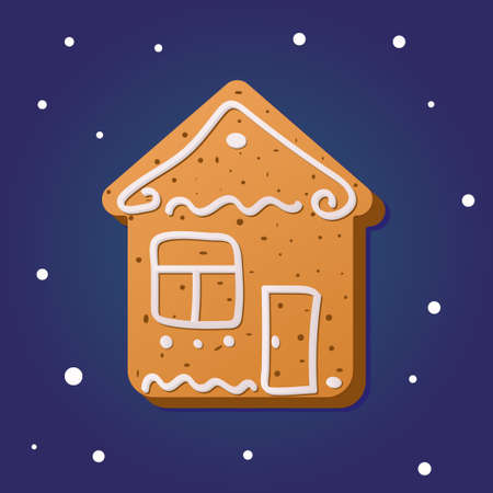 Christmas gingerbread in the shape of a home on a blue background. Traditional pastries for Christmas and New year.
