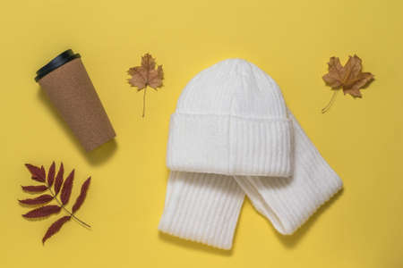 Coffee Cup, scarf, hat and autumn leaves on a yellow background. Autumn mood.