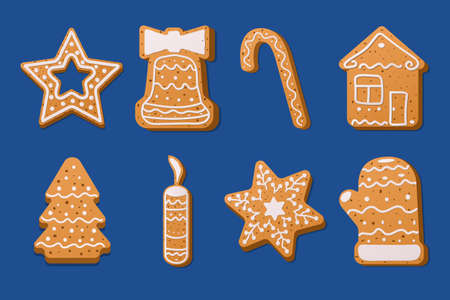 Set of Christmas gingerbread on a blue background. Traditional pastries for Christmas and New year.