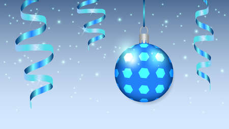 Large Christmas balloon and serpentine on a festive background. Christmas decoration.
