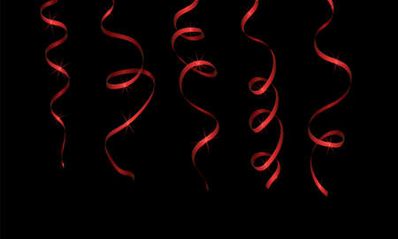 Red streamer ribbons with sequins on a black background. Decorations for any holiday. Illusztráció