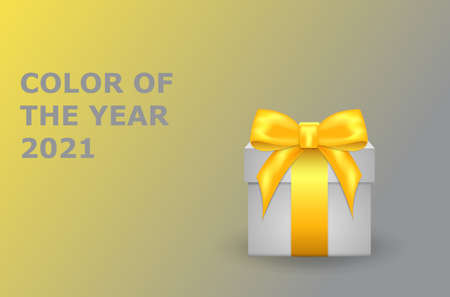 Gift box with a bow on the background of flowers in 2021. Design in yellow and gray colors.