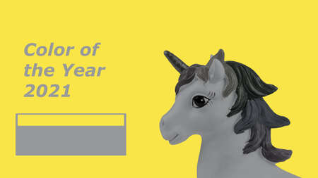 Tinted image of a gray unicorn on a yellow background. Trending colors of 2021.