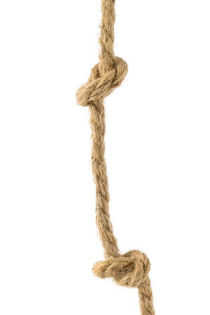 Image of a rope with two knots isolated on a white background. Material for binding various products.