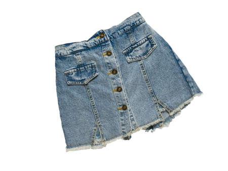 Stylish denim skirt isolated on a white background. Summer denim clothing.