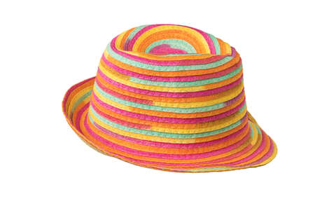 Stylish multi-colored summer sun hat isolated on a white background. Protective headdress. Stock fotó