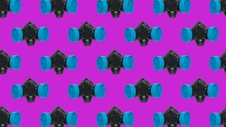 A pattern of black and blue gas masks on a purple background. Respiratory protection. Stock fotó