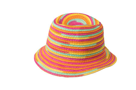 Fashionable multi-colored sun hat isolated on a white background. Protective headdress. Stock fotó