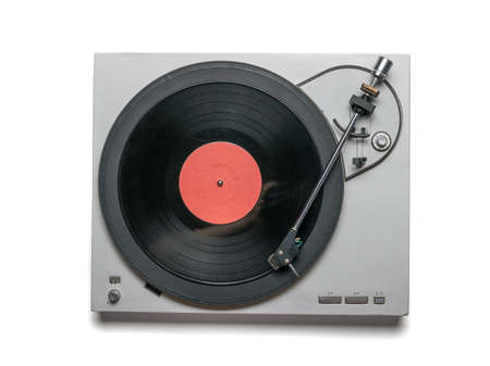 Vinyl record player with red disc isolated on white background. Vintage music equipment.