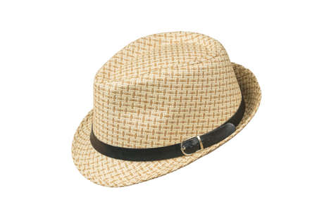 Side view of a men's summer hat isolated on a white background. Classic men's headdress.