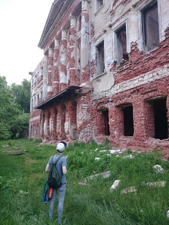 Abandoned and destroyed by time, Park ensemble and estate in Grebnevo, Moscow region, Russia