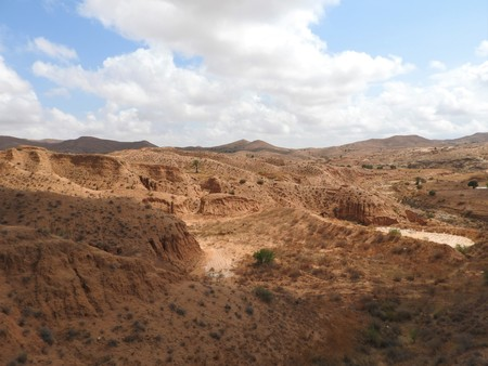 Desert landscape and clear sky near Matmata in southern Tunisia, North Africa