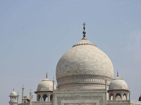 Close-up details Taj Mahal, famous  historical site, love monument, the greatest white marble tomb in India, Agra, Uttar Pradesh