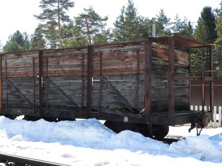 Old open-air steam locomotive Pereslavl Museum in winter, Russia