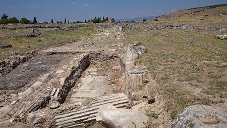 Sunny view of ancient ruins of ancient Hierapolis near Pamukkale, Denizli province, Turkey