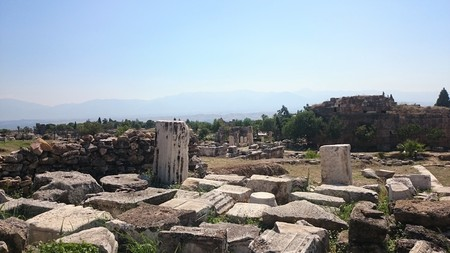 Hierapolis ancient city Pamukkale Turkey. Hierapolis is one of the most famous ancient city in Turkey