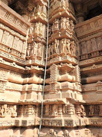 The frescoes are erotic inside the temples of the Western group including Visvanatha-Khajuraho, Madhya Pradesh, India