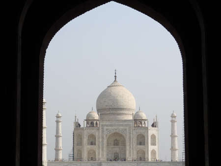 The Taj Mahal is an ivory-white marble mausoleum on the south bank of the Yamuna river in the Indian city of Agra, Uttar Pradesh