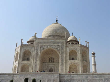 Taj Mahal mausoleum and symbol of love, white ivory marble on the South Bank of the Yamuna river in the Indian city of Agra, Uttar Pradesh