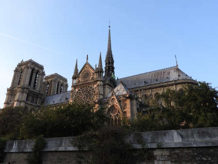Notre Dame, the most beautiful Cathedral in Paris. View from the river Seine, France Standard-Bild
