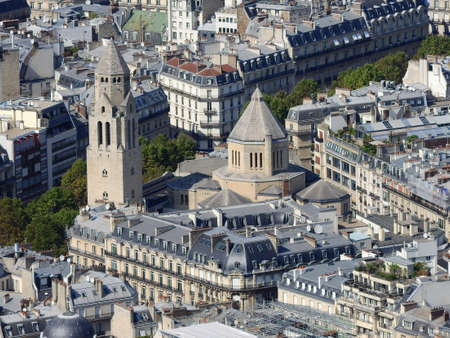 View of the city of Paris from the height of the Eiffel Tower 免版税图像