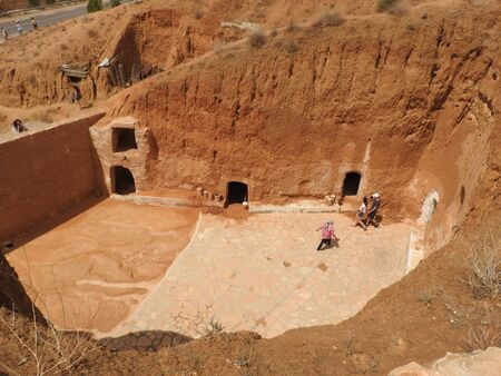 Troglodyte homes and underground caves of the Berbers in Sidi Driss, Matmata, Tunisia, Africa, on a clear day