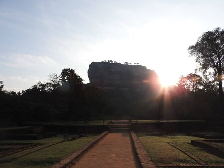 Close-up, view of Sigiriya lion mountain fortress in greenery, Sri Lanka, on a clear day