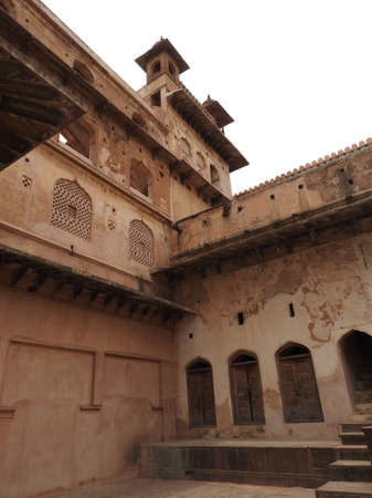 Jehangir Mahal, details and elements of Orchha Fort, Hindu religion, ancient architecture, Orchha, Madhya Pradesh, India