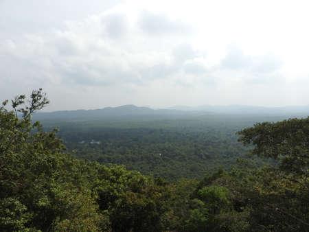 The view on the Pidurangala mountain from Sigiriya Rock or Sinhagiri aerial panoramic, Dambulla in Sri Lanka