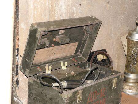 Underground Soviet bunker during the war, details and elements.