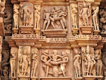 The frescoes are inside the temples of the Western group including Visvanatha-Khajuraho, Madhya Pradesh, India Reklamní fotografie