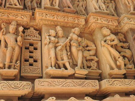 Erotic Human Sculptures at Vishvanatha Temple, Western temples of Khajuraho, Madhya Pradesh, India. Built around 1050, Khajuraho