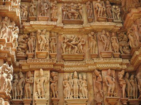 Erotic Human Sculptures at Vishvanatha Temple, Western temples of Khajuraho, Madhya Pradesh, India. Built around 1050