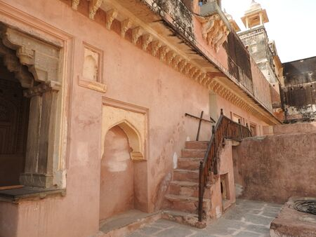Gardens in the inner courtyard of Amber fort, Jaipur, Rajasthan, India