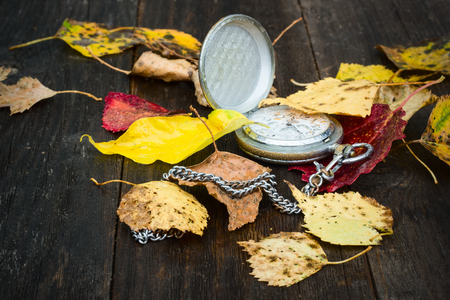 horologe: Autumn leaves with a clock