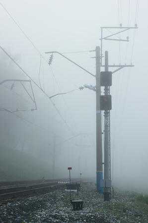 deceptive: Railway morning fog.Fragment.