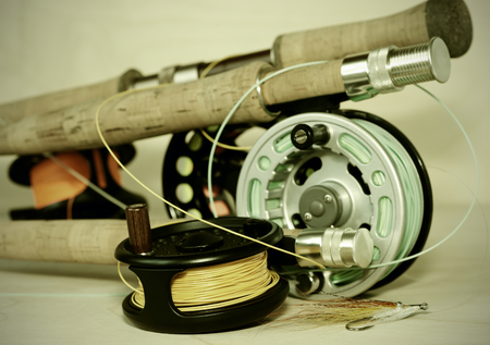 tackle: Fly rods and reels.Fishing tackle. Stock Photo