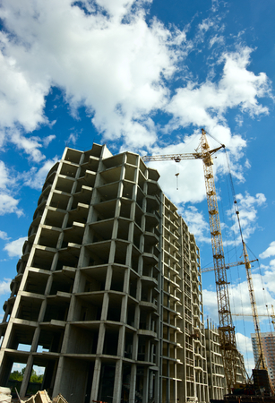 residential construction: Construction of residential high-rise buildings. Stock Photo