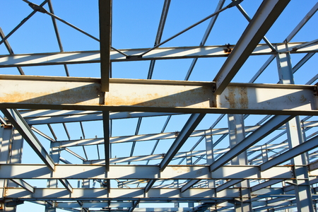 building structure: The metal frame of the building.Construction.