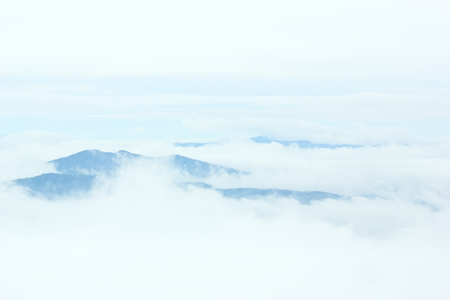soft peak: Mountain peaks in the clouds.