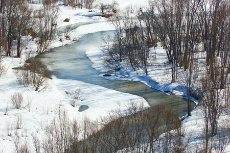 inhospitable: Winter landscape with a small river.View from above.