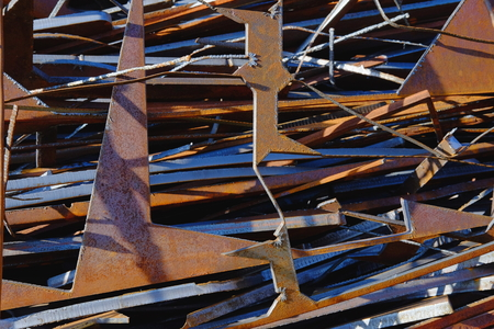Metal scrap. Production waste. Stock Photo
