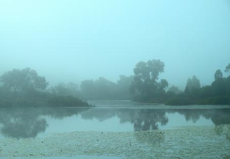 Zomer landschap met een meer in de vroege mistige ochtend, getint beeld. Stockfoto