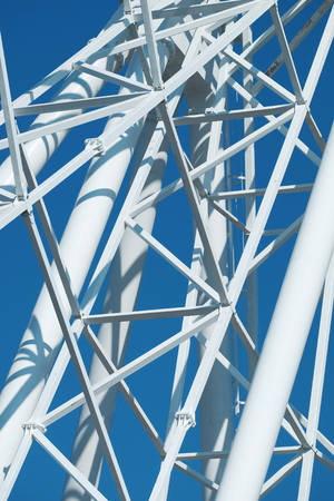 Metal constructions on the blue sky background. Standard-Bild