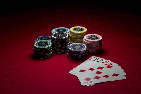 Poker chips and four of a kind